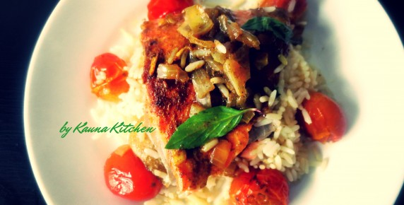 Nigerian Inspired Curry Baked Salmon & Rice